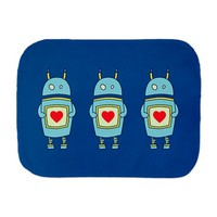 Blue Cartoon Robot With Heart Burp Cloth