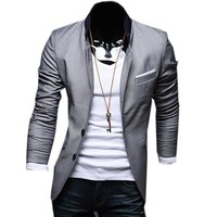 2014 Mens Slim Fit Jackets Pure Color Blazers Simple Casual Formal Suit