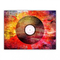 Vintage Vinyl Record Canvas Texture Retro Music Cool Wood Print