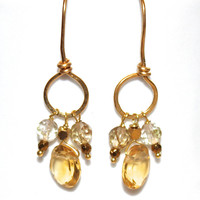 Oval Citrine Earrings Citrine Jewelry Dreamcatcher Earrings Golden Quartz Earrings Boho Earrings Hoop Earrings Festival Jewelry