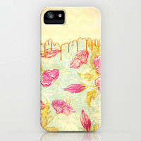 Golden Dripping Flowers - for iphone iPhone & iPod Case by Simone Morana Cyla
