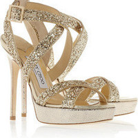 Jimmy Choo | Hawk glittered leather platform sandals | NET-A-PORTER.COM