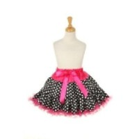 CinderellaCouture -BPT-soft charmeuse tutu with white polka dots on Black