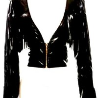 BLACK LEATHER FRINGE SKULL JACKET
