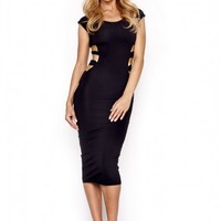 QUONTUM BLACK & GOLD SHINE MIDI DRESS