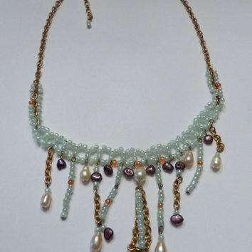 Vintage glass bead chandelier dangle bib necklace costume jewelry
