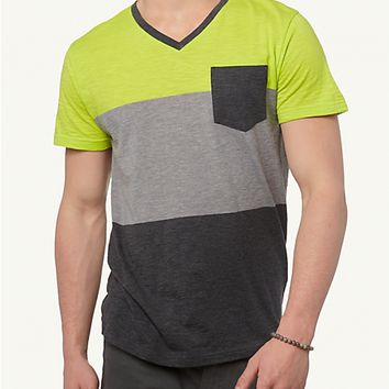 Color Block Slub V-Neck Tee