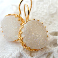 Druzy earrings, White druzy drop earrings, Dangle earrings, Bridal earrings, Bridesmaid gifts, Gold earrings, Bridesmaid earrings