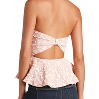 Bow-Back Floral Jacquard Peplum Top