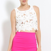 Embroidered Flowers Crop Top | MakeMeChic.com