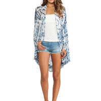 Free People Woven Fringe Poncho in Blue Multi