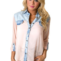 Dash of Denim Top in Pink | MACA Clothe