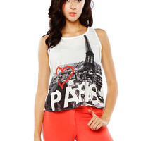 Papaya Clothing Online :: BACK CUT OUT GRAPHIC SLEEVELESS TOP