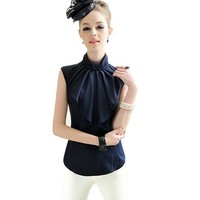 Zacoo Women's Bow Chiffon Blouse