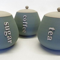 set of tea, coffee and sugar pots by tom gloster | notonthehighstreet.com