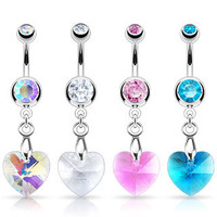 14g Prism Heart Belly Button Ring Dangle Navel Body Jewelry Piercing