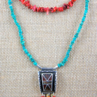 Talisman Inspired Necklace! Coral and Turquoise Necklace with Antique, Upcycled Buckle and Silk Tassels! Native American Piece