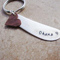 Ohana Recycled knife keychain With hammered copper heart