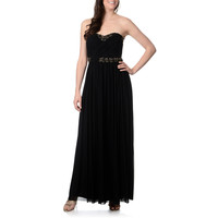 Decode 1.8 Women's Black and Gold Sweetheart Neckline Gown