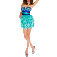 Mac Duggal Dazzling Shades of Blue Sequin Feathered Cocktail Party Dress