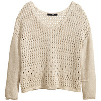 H&M - Pattern-knit Sweater - Beige - Ladies