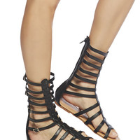 Calf-High Strappy Gladiator Sandals | Wet Seal