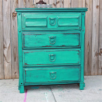 Patina Green Vintage Chest/ Bedroom Furniture/ Drawer Pulls/ TV Stand/ Storage/ Distressed