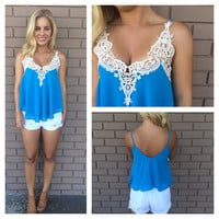 Flowy Crochet Top - BLUE