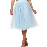 Light Blue Tulle Midi Skirt