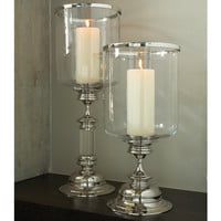 Global Views Estate Hurricane-Nickel-Holds a 4&quot; Dia. Pillar Candle| 9-90775  at livingcomforts.com