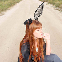 Honey Bunny- Lace rabbit ear headband