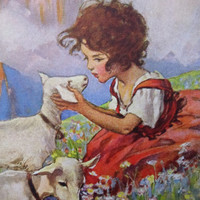 Heidi and the Goats Poster-Girl in a Beautiful Alpine Meadow-18x24 in poster