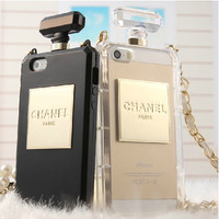 Perfume bottles Chain iphone 4 4s 5 5s case samsung galaxy s3 s4 note 2 note 3 case cover black white
