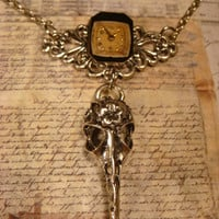 Steampunk Gothic Bird Skull Watch Face Necklace (1768)
