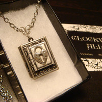 Tiny Heart Lock Double Book Locket Victorian Style Necklace (1770)