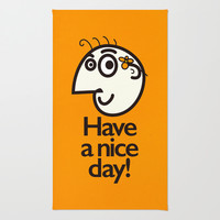 Have A Nice Day Happy Character Area & Throw Rug by Boriana Giormova | Society6