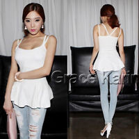 2014 Korean Fashion Women Open Back Peplum Cotton Spaghetti Strap Tee Tank Cami