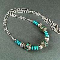 Stunning Turquoise, Silver & Bronze Handcrafted Necklace - N450 | TheSilverBear - Jewelry on ArtFire