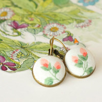 Romantic Leverback Earrings - Italian Rosebuds - Pink Flowers Green Leaves on White - Fresh Morning Garden Fabric Buttons Dangle Earrings