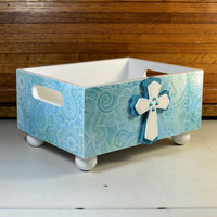Large decorative storage bin countertop organizer with rhinstone layered cross, blue paisley storage caddy