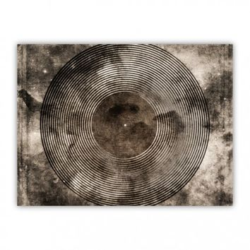 Vintage Vinyl Records Retro Music DJ Art Wood Print