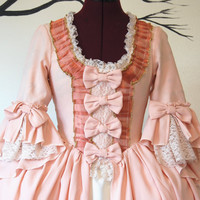 Peaches and cream Marie Antoinette Victorian inspired rococo costume dress