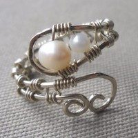 Fresh Water Pearl Wrapped Hammered Silver Wire Ring