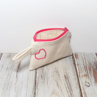 Heart Change Purse - Small Zipper Bag - Pink Heart - Small Cosmetic Bag - Coin Purse - Bag Accessory - Zipper Pouch