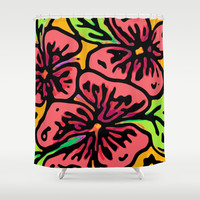 Bold Flora Shower Curtain by Lisa Argyropoulos | Society6
