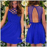Blue Bliss Lattice Cocktail Dress