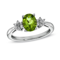 Oval Peridot and Lab-Created White Sapphire Ring in Sterling Silver