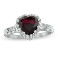 8.0mm Heart-Shaped Garnet and White Topaz Crown Ring in Sterling Silver