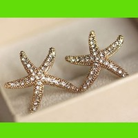 Sparkly Starfish Statement Earrings