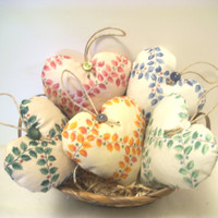 Fabric HEART BOWL FILLERS Ornaments,Handmade From Designer Fabric, Shabby Chic, Cottage Chic, Scented in Lavender, Vanilla, or Cinnamon
